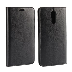 Crazy Horse Genuine Leather Wallet Phone Shell for Huawei Mate 9 Pro / Porsche Design - Black