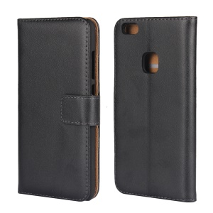 Genuine Split Leather Wallet Stand Phone Case for Huawei P10 Lite - Black