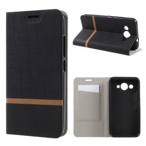 For Huawei Y3 (2017) Cross Texture Stand Leather Card Holder Shell Built-in Steel Sheet - Black