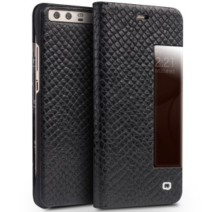 QIALINO Dragon Scale Texture Smart View Window Cowhide Leather Phone Cover for Huawei P10 - Black