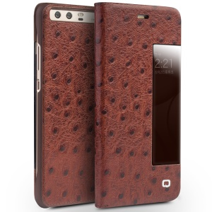 QIALINO Ostrich Skin Cowhide Leather Case for Huawei P10 Plus - Brown