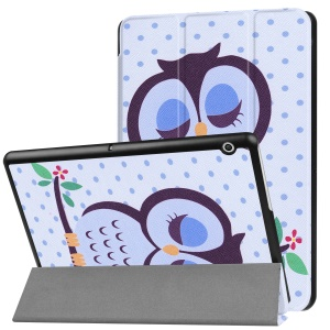 Patterned Anti-scratch PU Leather Protective Stand Folio Cover  for Huawei MediaPad T3 10 - Owl