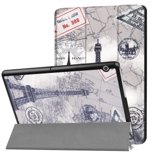 Patterned PU Leather Protective Cover with Stand for Huawei MediaPad T3 10 - Eiffel Tower