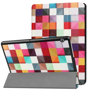 Patterned Anti-scratch PU Leather Protective Case with Stand  for Huawei MediaPad T3 10 - Colorful Grids