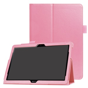 Litchi Skin Stand Leather pour Huawei MediaPad T3 10 - Rose