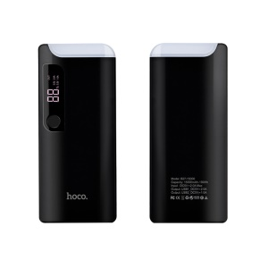 HOCO B27-15000 PuSi Mobile Power Bank with Table Lamp - Black