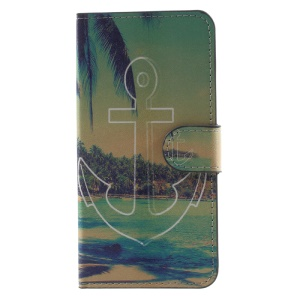 Patterned Stand Wallet Leather Phone Casing for Huawei Honor 6C - Anchor Seaside Scene
