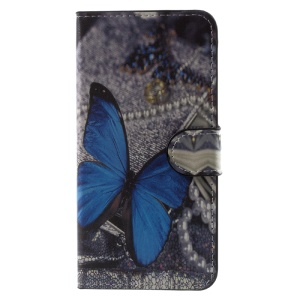 For Huawei Honor 6C Patterned Wallet Leather Stand Case Cover - Blue Butterfly