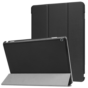 Leather Tri-fold Stand Cover for Huawei MediaPad M3 Lite 10 - Black