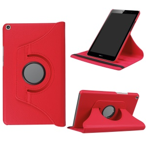Litchi Skin Leather 360 Degree Rotary Stand Tablet Cover for Huawei MediaPad T3 8.0 - Red