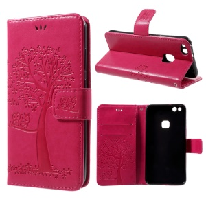 Imprint Tree Owl Magnetic Wallet Leather Stand Cover for Huawei P10 Lite - Rose