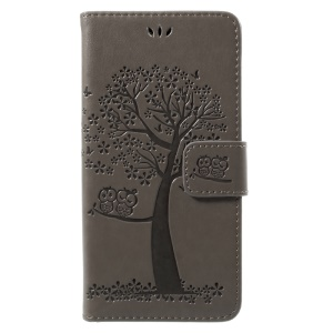 Imprint Tree Owl Magnetic Wallet Leather Stand Shell for Huawei P10 Lite - Grey