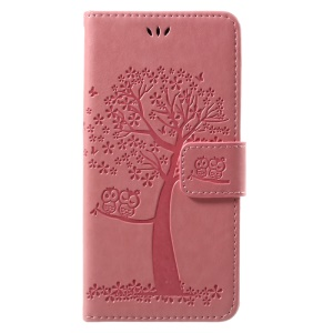 Imprint Tree Owl Magnetic Wallet Leather Shell with Stand for Huawei P10 Lite - Pink