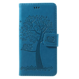 Imprint Tree Owl Magnetic Wallet Leather Shell with Stand for Huawei P10 Lite - Blue