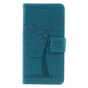 Imprint Tree and Owls Leather Wallet Phone Cover with Stand for Huawei P8 Lite (2017) / Honor 8 Lite - Blue