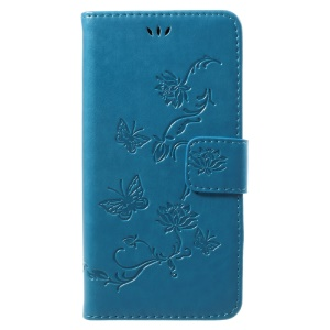Imprint Butterfly Flowers Magnetic Wallet Leather Protective Phone Casing with Stand for Huawei P10 Lite - Blue