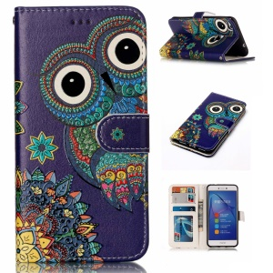 Pattern Printing Embossment Leather Flip Case for Huawei P8 Lite (2017) / Honor 8 Lite - Owl