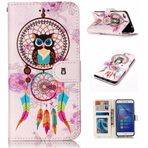 Pattern Printing Embossment Leather Mobile Phone Case for Huawei P8 Lite (2017) / Honor 8 Lite - Owl and Feather