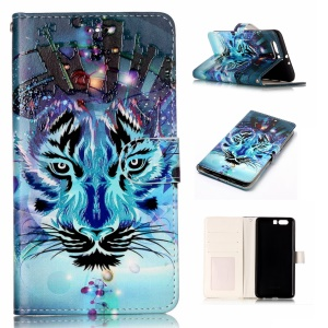 Pattern Printing Embossed Leather Protective Phone Case for Huawei P10 Plus - Tiger