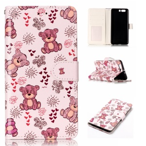 For Huawei P10 Plus Pattern Printing Embossed Leather Phone Casing - Bears