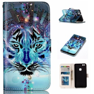 Pattern Printing Embossed Leather Protective Phone Case for Huawei P10 Lite - Tiger