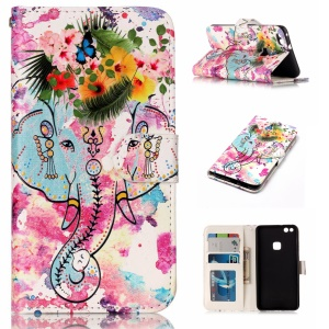 For Huawei P10 Lite Pattern Printing Embossed Leather Protective Phone Case - Elephant