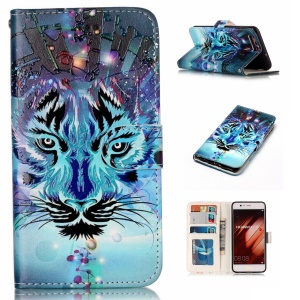 Pattern Printing Embossed Leather Protective Phone Case for Huawei P10 - Tiger