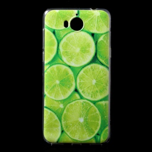 Ultra Thin Patterned Soft TPU Case for Huawei Y5 (2017) / Y6 (2017) - Green Lemon