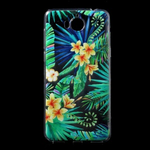 Ultra Thin Patterned Soft TPU Back Casing for Huawei Y5 (2017) / Y6 (2017) - Yellow Flower