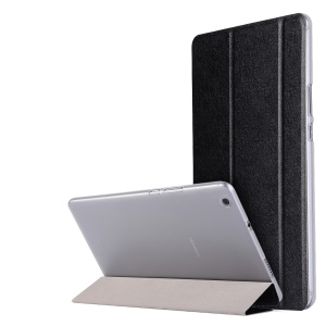 Silk Texture Tri-fold Stand Leather Case for Huawei MediaPad M3 Lite 8 - Black
