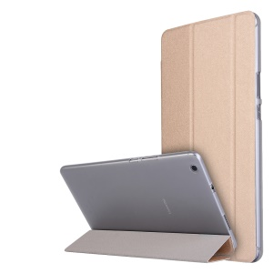 Silk Texture Tri-fold Leather Case with Stand for Huawei MediaPad M3 Lite 8 - Gold