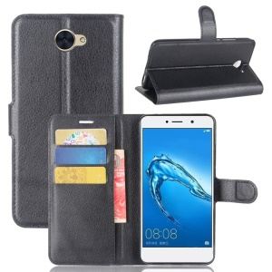 Litchi Texture Leather Wallet Protection Case for Huawei Y7 - Black