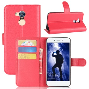 Litchi Skin Wallet Leather Stand Phone Casing for Huawei Honor 6A - Red