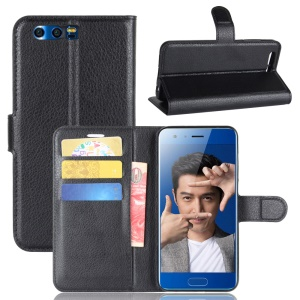 Litchi Texture PU Leather Wallet Stand Phone Case for Huawei Honor 9 - Black
