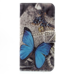 Printing Pattern Wallet Leather Cell Phone Casing with Stand for Huawei Honor 6A - Blue Butterfly