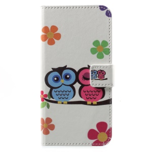 Pattern Printing Wallet Leather Stand Cell Phone Cover for Huawei Honor 6A - Owl Lovers