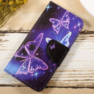 Pattern Printing Wallet Leather Stand Shell Cover for Huawei Honor 6A - Shiny Butterflies