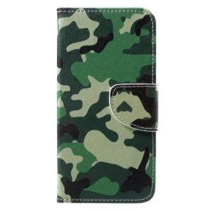 Pattern Printing Wallet Leather Stand Magnetic Cover for Huawei Honor 6A - Camouflage Pattern