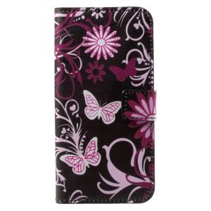 Pattern Printing Wallet Leather Stand Cell Phone Cover for Huawei Honor 6A - Butterflies and Flowers