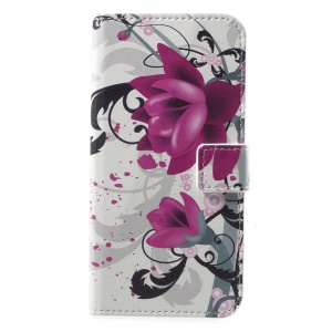 Pattern Printing Leather Mobile Phone Cover with Stand for Huawei Honor 6A - Flowers