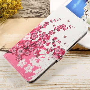 Pattern Printing Wallet Leather Foldable Mobile Casing for Huawei Honor 6A - Peach Blossom