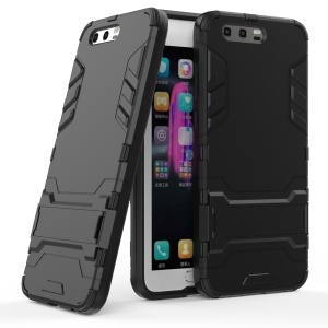 For Huawei Honor 9 Cool Guard Plastic TPU Mobile Casing with Kickstand - Black