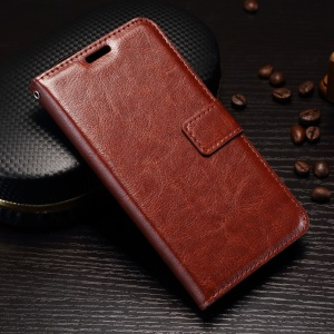 Crazy Horse Wallet Stand Leather Tampa do telefone móvel para Huawei Y5 (2017) / Y6 (2017) - Castanho