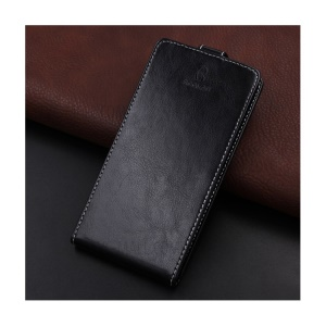 BOGVED Crazy Horse Texture Vertical Flip Card Holder Leather Cover for Huawei Honor 6C - Black