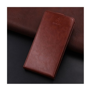 BOGVED Vertical Flip Card Holder Leather Cover Crazy Horse Skin for Huawei Honor 6C - Brown