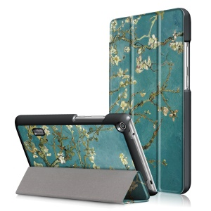 Pattern Printing Leather Tri-fold Stand Protection Cover for Huawei MediaPad T3 7.0 - Peach Blossom