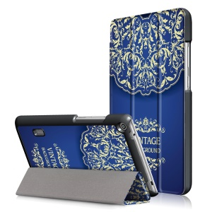 For Huawei MediaPad T3 7.0 Pattern Printing Leather Smart Tri-fold Stand Case - Vintage Flower Pattern
