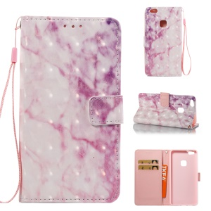 Marble Pattern Wallet Leather Stand Phone Case for Huawei P10 Lite - Rose