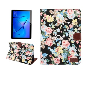 Blooming Flower Cloth Skin PU Leather Wallet Stand Case for Huawei MediaPad T3 10.0 - Black