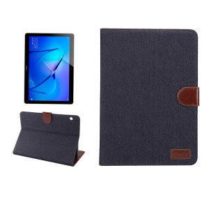 Jeans Cloth Texture Wallet Stand Tablet Case for Huawei MediaPad T3 10.0 - Dark Blue